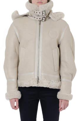 Chloé Hooded Beige Shearling Jacket With Rear Logo
