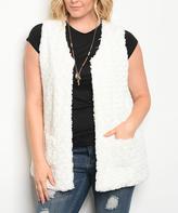 Ivory Pocket Faux Fur Vest - Plus