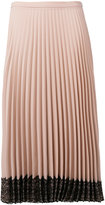 RED Valentino lace hem pleated skirt - women - Polyester/Acetate - 40