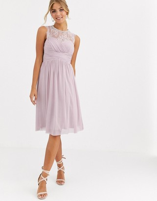 Lipsy ruched midi dress with lace yoke and embellished neck in lavender