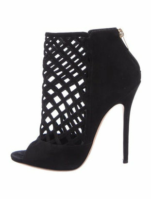 Jimmy Choo Suede Cutout Accent Boots Black