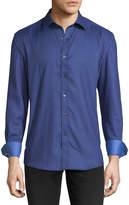 Bugatchi Shaped-Fit Polka-Dot Print Sport Shirt, Blue