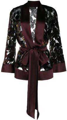 Carine Gilson Velvet-Flocked Tulle And Satin Robe