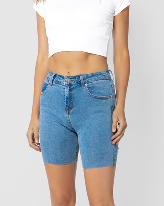 ONEBYONE - Women's Blue Denim - Kelsey Shorts - Size One Size, 6 at The Iconic