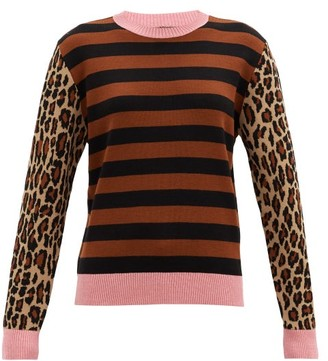 MSGM Striped And Leopard-jacquard Wool-blend Sweater - Brown Multi