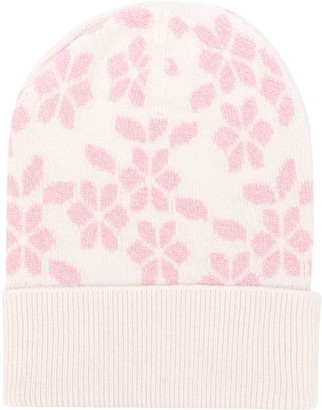 Barrie Floral Knit Beanie