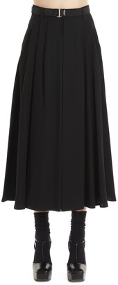 Prada Belted Pleated Skirt