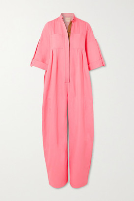 Roksanda Dario Oversized Pleated Cotton-blend Twill Jumpsuit - Pink