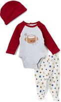 Vitamins Baby Maroon 'M.V.P.' Football Raglan Bodysuit Set - Infant