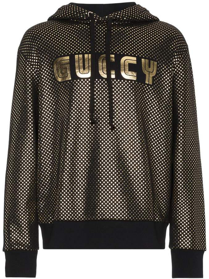 Gucci Guccy Logo Jersey Hoodie