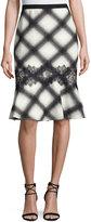 BCBGMAXAZRIA Plaid Flounce Skirt, Black/Off White