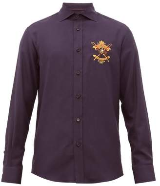 Ralph Lauren Purple Label Crest Embroidered Cotton Blend Shirt - Mens - Navy