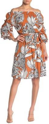 MSK Challis Off-the-Shoulder Puff Sleeve Floral Print Dress