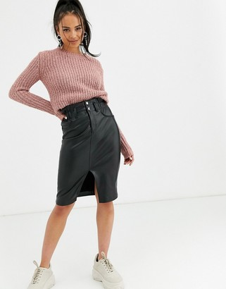 Bershka faux leather midi skirt in black