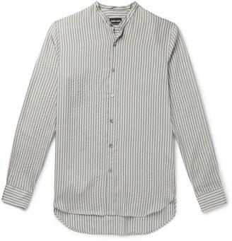 Giorgio Armani Grandad-Collar Seersucker Shirt