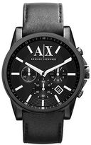 Armani Exchange Mens Outerbanks Chronograph Watch with Leather Strap