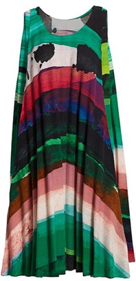 Issey Miyake Panorma Pleat Sleeveless Mini Dress