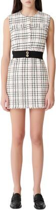 Maje Rianey Cotton Blend Tweed Sleeveless Dress