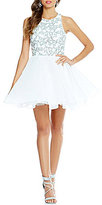 Glamour by Terani Couture Sequin Pattern Bodice Fit-and-Flare Party Dress
