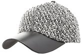 Charlotte Russe Tweed & Faux Leather Baseball Hat