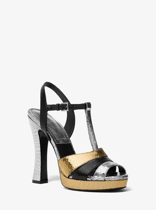Michael Kors Rosanna Tri-Color Crackled Calf Leather Platform Sandal