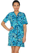 Denim & Co. Beach Floral Print Zip Front Cover Up Dress