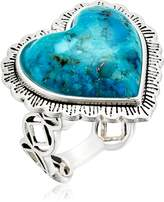 Barse Sterling Silver and Genuine Turquoise Heart Ring Size 8