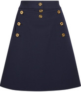 Michael Kors Embellished Wool-crepe Mini Skirt - Navy