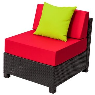 Red Barrel Studio Faribault Middle Single Patio Chair with Cushions Color: Red