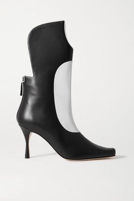 Manolo Blahnik Sambona Two-tone Leather Boots - Black