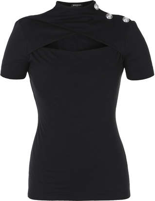 Balmain Cutout Cotton-Jersey Top