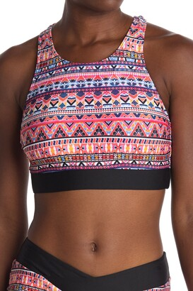 Next Daylight Geometric Print Racerback Bikini Top