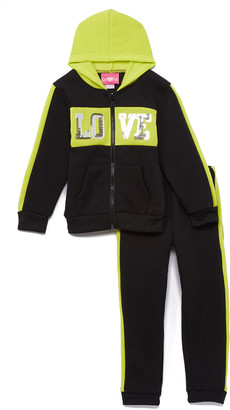 Green & Black Girls Luv Pink Girls' Sweatpants NEON - Neon 'Love' Zip-Front Hoodie & Joggers - Toddler & Girls