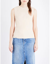 Helmut Lang Round-neck leather top