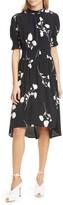 BA&SH Poppy Print Smocked Waist High/Low Dress