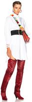 Fendi Fishtail Hem Shirt Dress in White.