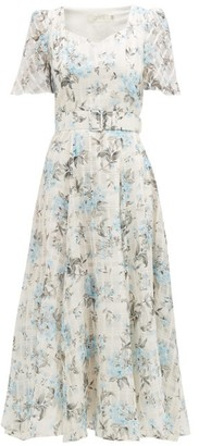 Goat Julip Floral-print Cotton-blend Organza Dress - Light Blue