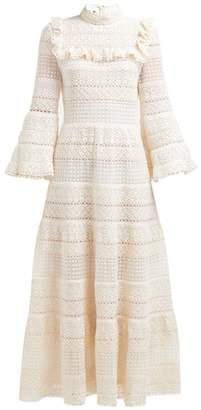 Giambattista Valli Ruffled Cotton Crochet Gown - Womens - Ivory