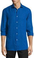Ralph Lauren Solid Linen/Cotton Long-Sleeve Sport Shirt, Navy