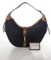 Eric Javits Black Brown Canvas Embossed Leather Shoulder Handbag