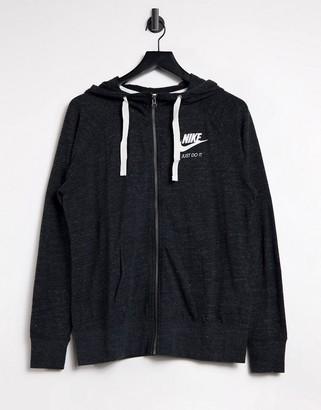 Nike sportswear gym vintage full zip hoodie in black