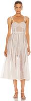 Self-Portrait Self Portrait Lace Panel Midi Dress in White | FWRD