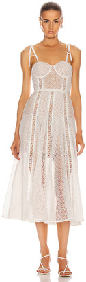 Self-Portrait Lace Panel Midi Dress in White | FWRD