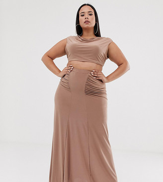Club L London Plus ruched detail slinky maxi skirt in camel