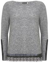 Mint Velvet Camo Lace Hem Boxy Knit Jumper, Grey