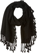 D&Y Women's Solid Woven Blanket Scarf with Fringe Trim