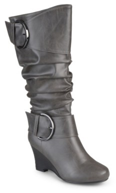 Journee Collection Meme Wide Calf Wedge Boot