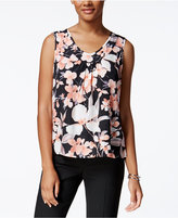 Kasper Printed V-Neck Blouse