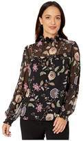 Vince Camuto Specialty Size Petite Long Sleeve Windsor Floral Chiffon Mock Neck Blouse (Rich Black) Women's Blouse