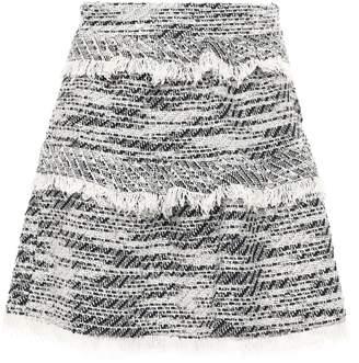 IRO Tiered Frayed Tweed Mini Skirt